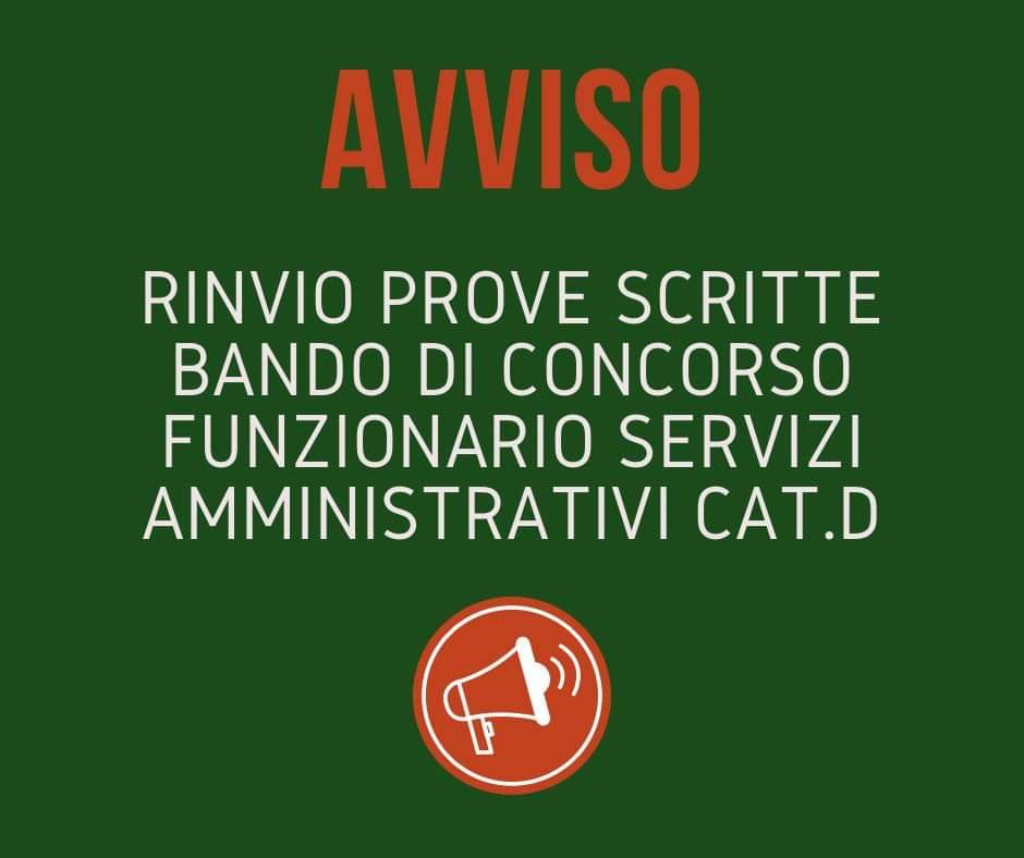 RINVIO PROVE SCRITTE BANDO DI CONCORSO FUNZIONARIO  ....